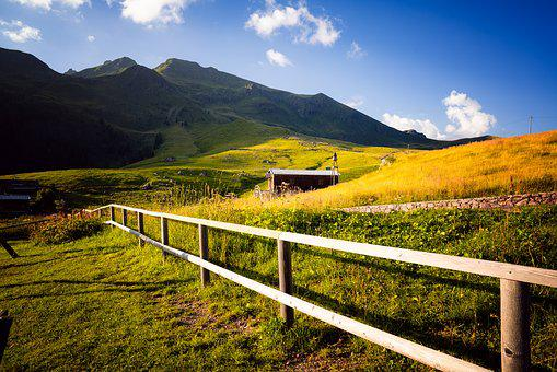 Mountain, Field, Grass, Nature, Hill, Landscape, Fence