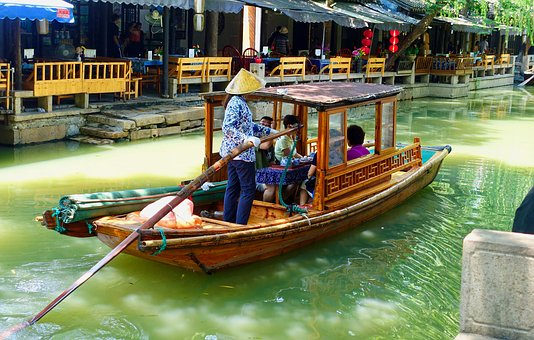 Canal Boat, China, Canal, Channel, Historic