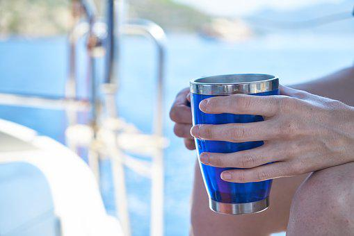 Coffee, Glass, Blue, Marine, Holiday, Hands, Keep