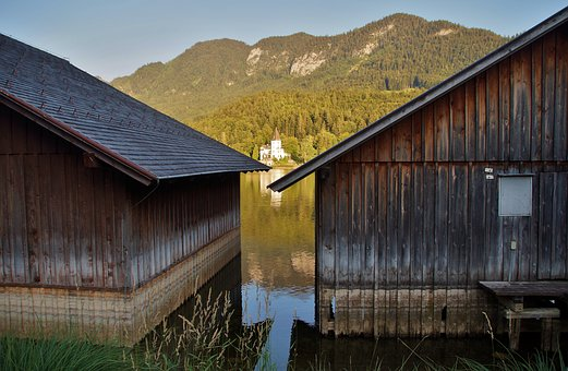 Grundlsee, Wooden, Houses, Architecture, Dock, Shipping
