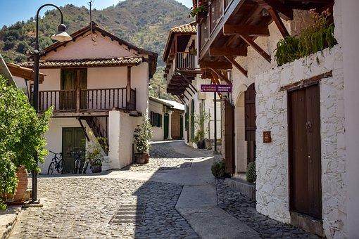 Cyprus, Kalopanayiotis, Architecture, Street, Summer