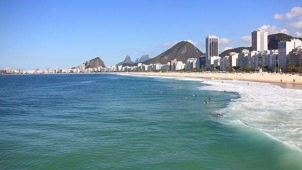 Copacabana, Leme, Beach, Wave, Pedra Da Gávea