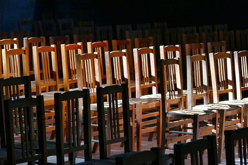 Chairs, Church, Sit, Row, Light, Interior, Building