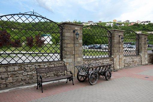 Abrau Durso, Bench, Cart, Fence, Sky, Mountains, Stone