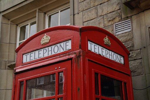 Phone Booth, United Kingdom, England, Phone, Red