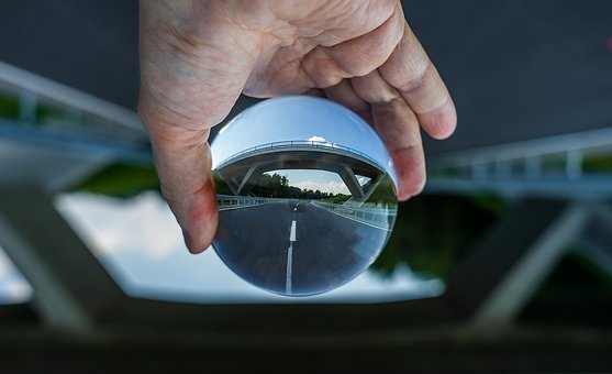 Glass Ball, Photography, Road, Highway, Traffic