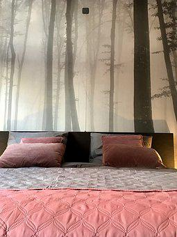 Bedroom, Pink, Wall Chart, Forest, Black And White