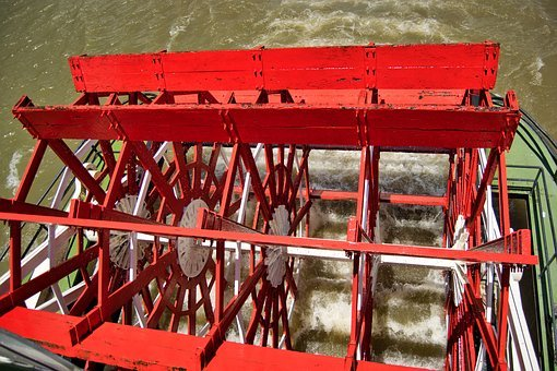 Paddle Wheel, Steamer, Mississippi, Water, River