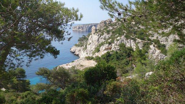 Sea, Rock, Water, Landscape, Side, Blue, Sky, Nature