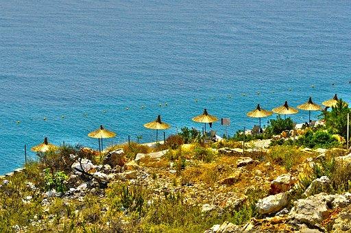 Beach, Umbrella, Summer, Sand, Sea, Holidays, Sky, Blue
