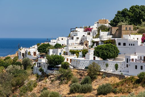 Greece, Rhodes, Lindos, Landscape, Sea, Greek, Tourism