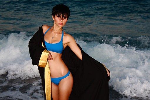 Woman, Sexy, Bikini, Marine, Beach, Body, Leg