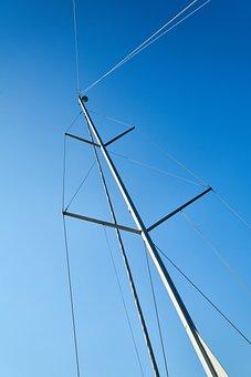 Sailboat, Direct, High, Rope, Blue, Sky, Steel, Daniel