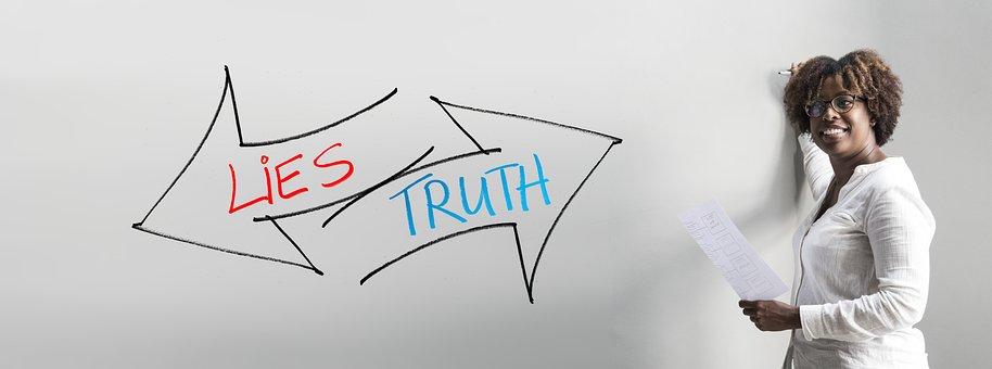 Businesswoman, Lie, Truth, Honesty, Present, Structure