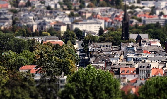City, Bad Nauheim Germany, Tilt Shift, Thumbnail View