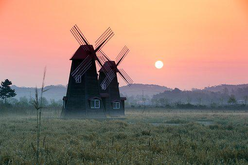 Windmill, The Future, Sunrise, Spring, Under 슾 Not, Fog