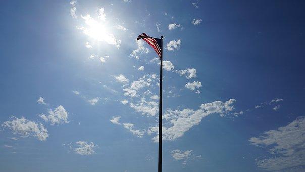 American Flag, America, Sky, Usa