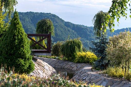 Garden, Mountains, Landscape, Breathtaking, Amazing
