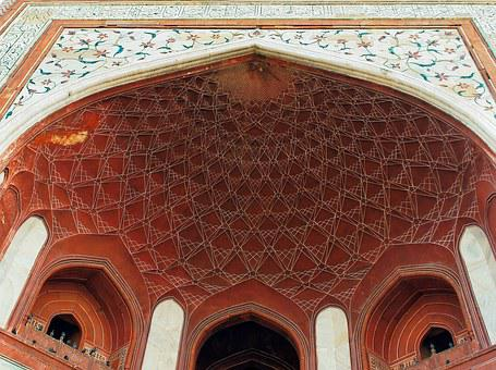 Agra, Mosque, Porch, Arabesques, Marble, Inlay