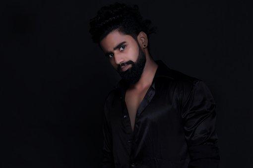 Young Man, Beard, Black Shirt, Style, Sexy, Face
