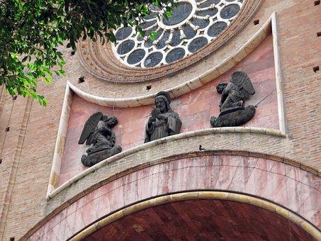 Ecuador, Cuenca, Cathedral, Porch, Statues, Bronze