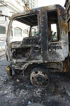 Truck, Burnt, Damage, Destruction, Destroyed, Arson