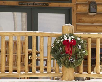 Christmas, Wreath, Cabin, Porch, Log, Xmas, Decoration