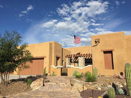 Sky, Clouds, Arizona, Desert, American Flag, Cactus