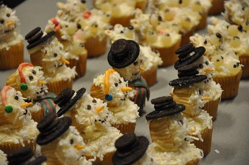 Cupcakes, Snowmen, Food, Christmas, Xmas, Sweet