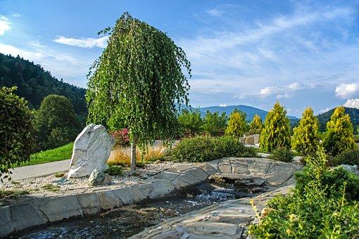 Garden, Brook, Fountain, Sunset, Mountains, Summer