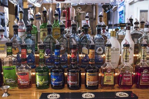 Alcohol, Glass Bottles, Bartending, Bar, Drink