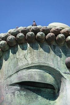Great Buddha, Doves On The Head, Statue, Japan