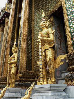 Thailand, Royal Palace, Guards, Statues, Palace