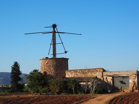 Windmill, Old, Lapsed, Ruin, Mallorca, Muro, Mill