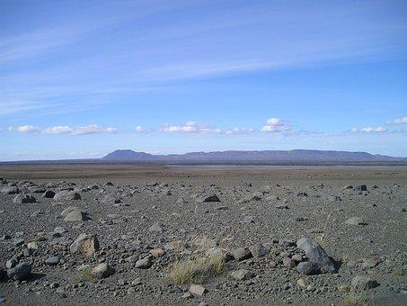 Desert, Flat, Bleak, Lunar Landscape, Stones, Iceland