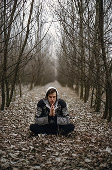 Young Man, Forest, Calm, Meditate, Meditation