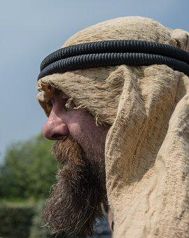 Man, Arab, Portrait, Cloth, Beard, Headband, Desert