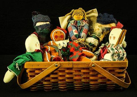 Rag Dolls, Toys, Primitive Dolls, Folk Art, Basket