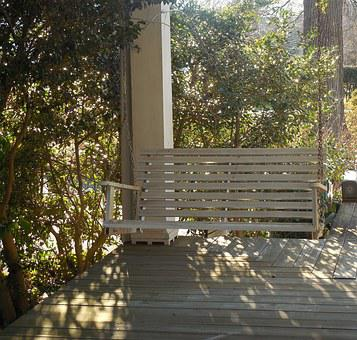 Southern, Porch, Swing, House, Architecture, Building