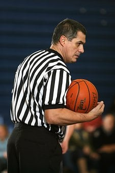 Basketball, Referee, Striped, Stripes, Sports Official