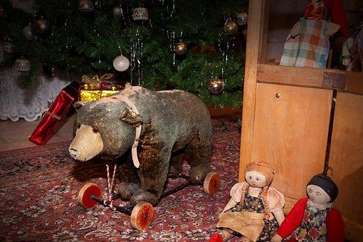 Bear, Toys, Teddy, Teddy Bear, Mobile, On Wheels, Drag
