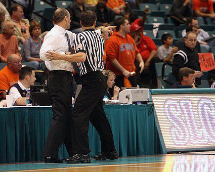 Basketball, Coach, Referee, Tussle, Confrontation