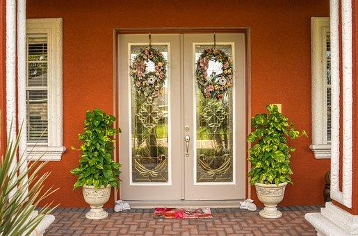 Doorway, Wreaths, Trees, Door, Entrance, Front, Home
