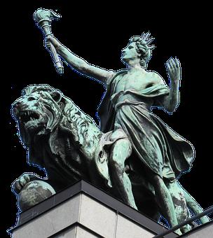 Statue, Ruler, Lion, Sculpture, Man, Bronze, Isolated