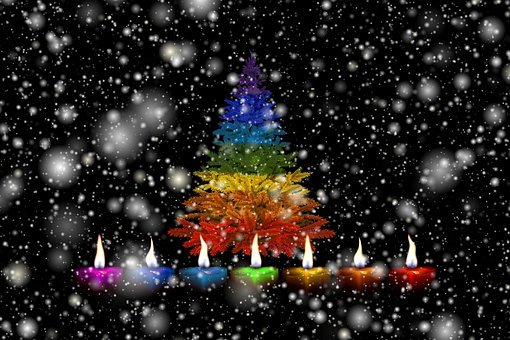 Candles, Christmas, Snow, Colorful, Rainbow