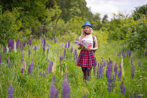 Lupins, Forest, Flowers, Field, Glade, Photoshoot