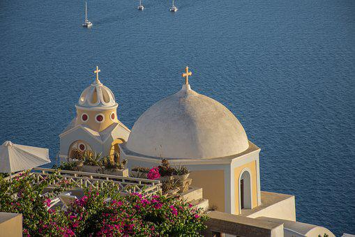 Sea, Domes, Architecture, Holiday, Greece, Blue, Summer