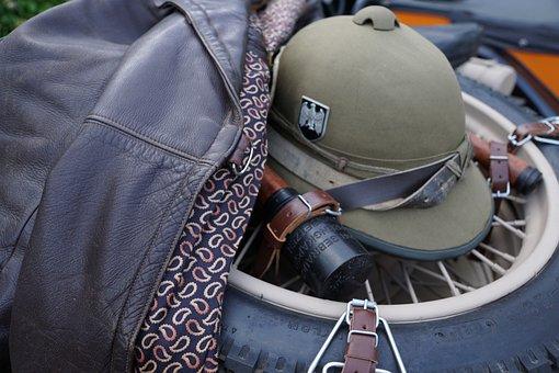 Helm, Leather, Jacket, Wheel, Old, Retro, War, Vintage