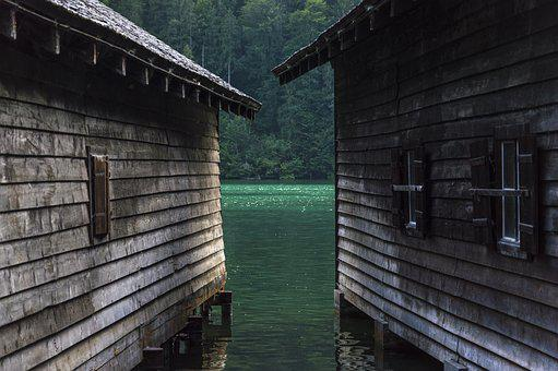 Boat House, Boathouses, Königssee, Log Cabin, Waters