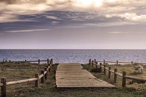 Path, Sea, Wood Way, Tables, Planks, Via, Landscape